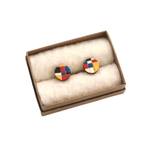 Line+Colour Cuff Links in Maple - Dressed for Sunday