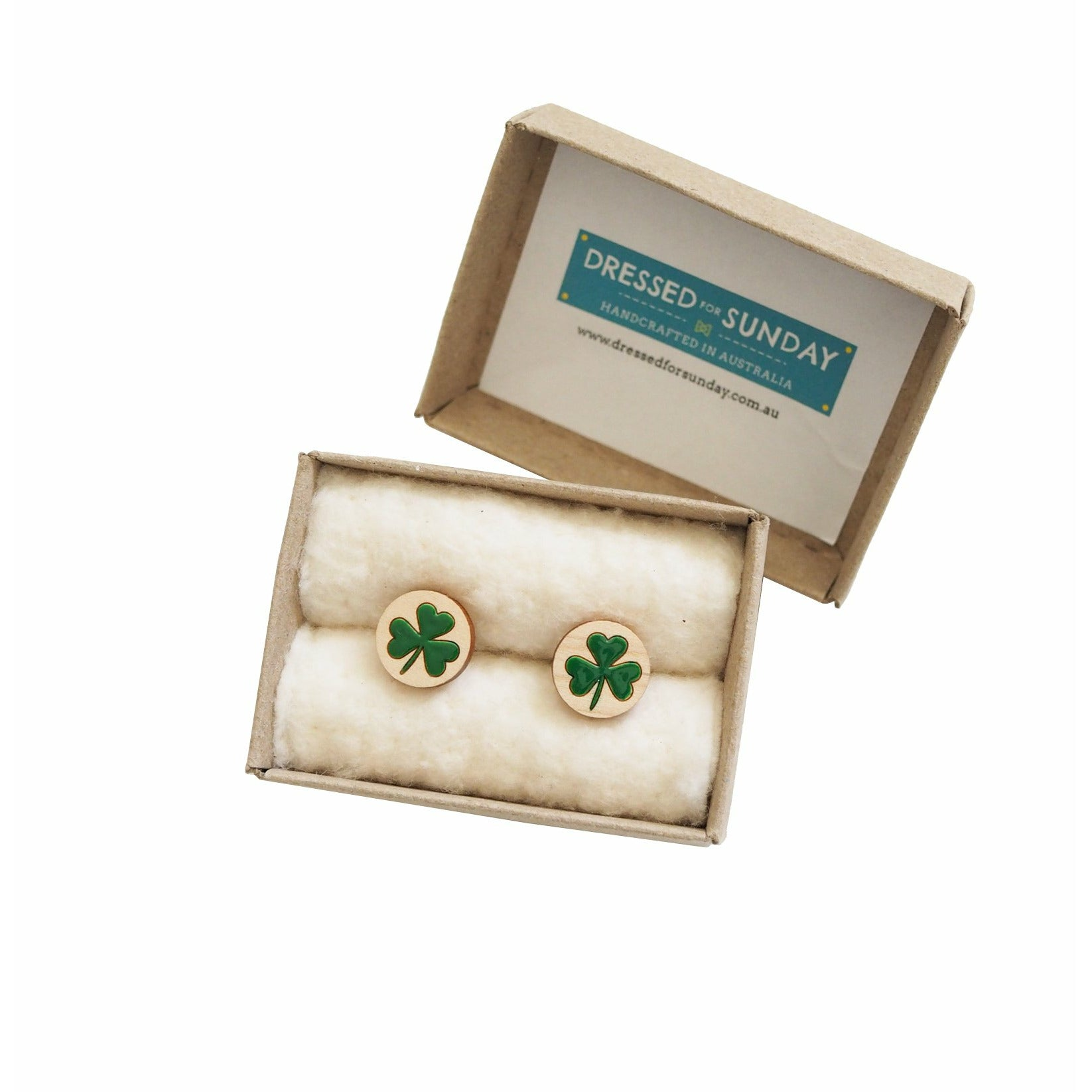 Dressed for Sunday Cufflinks Shamrock Green Handpainted Vintage Inspired Canberra Handmade for the Dapper Gent