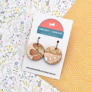 French Wallpaper Round Drop Earrings
