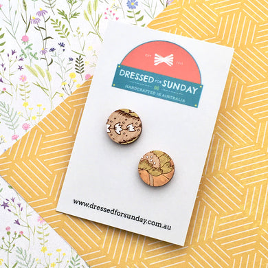 French Wallpaper Round Stud Earrings - Dressed for Sunday