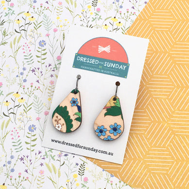 French Wallpaper Teardrop Drop Earrings - Dressed for Sunday