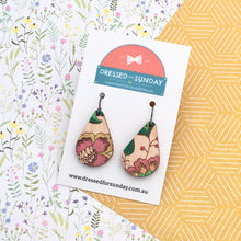 Load image into Gallery viewer, French Wallpaper Teardrop Drop Earrings