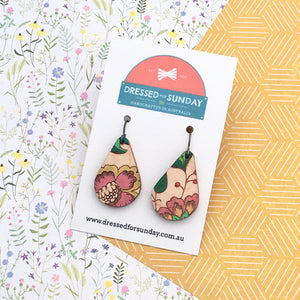 French Wallpaper Teardrop Drop Earrings