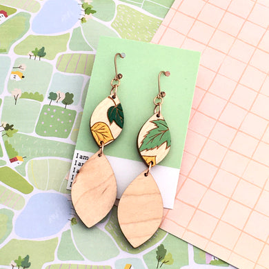 Grace Within Leaf Dangle Earrings - Dressed for Sunday