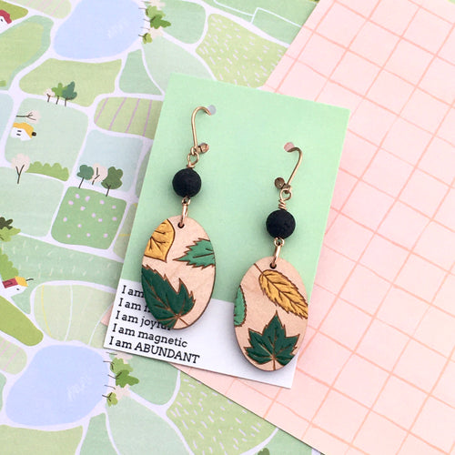 Grace Within Oval Leaf Earrings