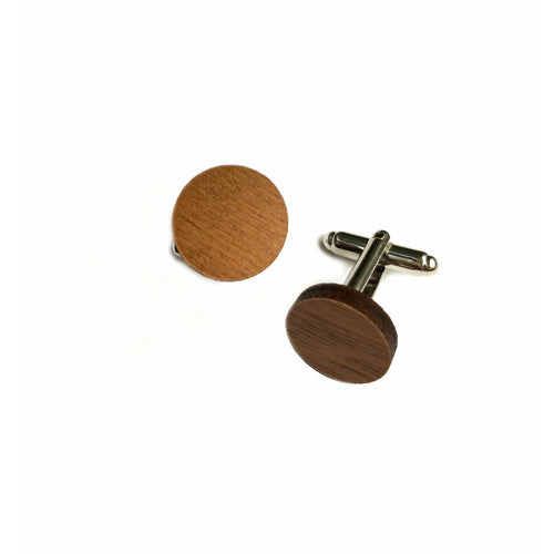 Dressed for Sunday Cufflinks Plain Round Walnut Handpainted Vintage Inspired Canberra Handmade for the Dapper Gent