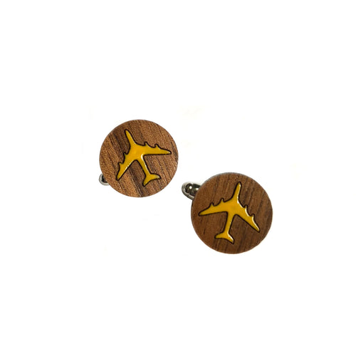 Dressed for Sunday Cufflinks Jet Plane Walnut Handmade Canberra Adelaide Dapper Gent Vintage Wedding Style