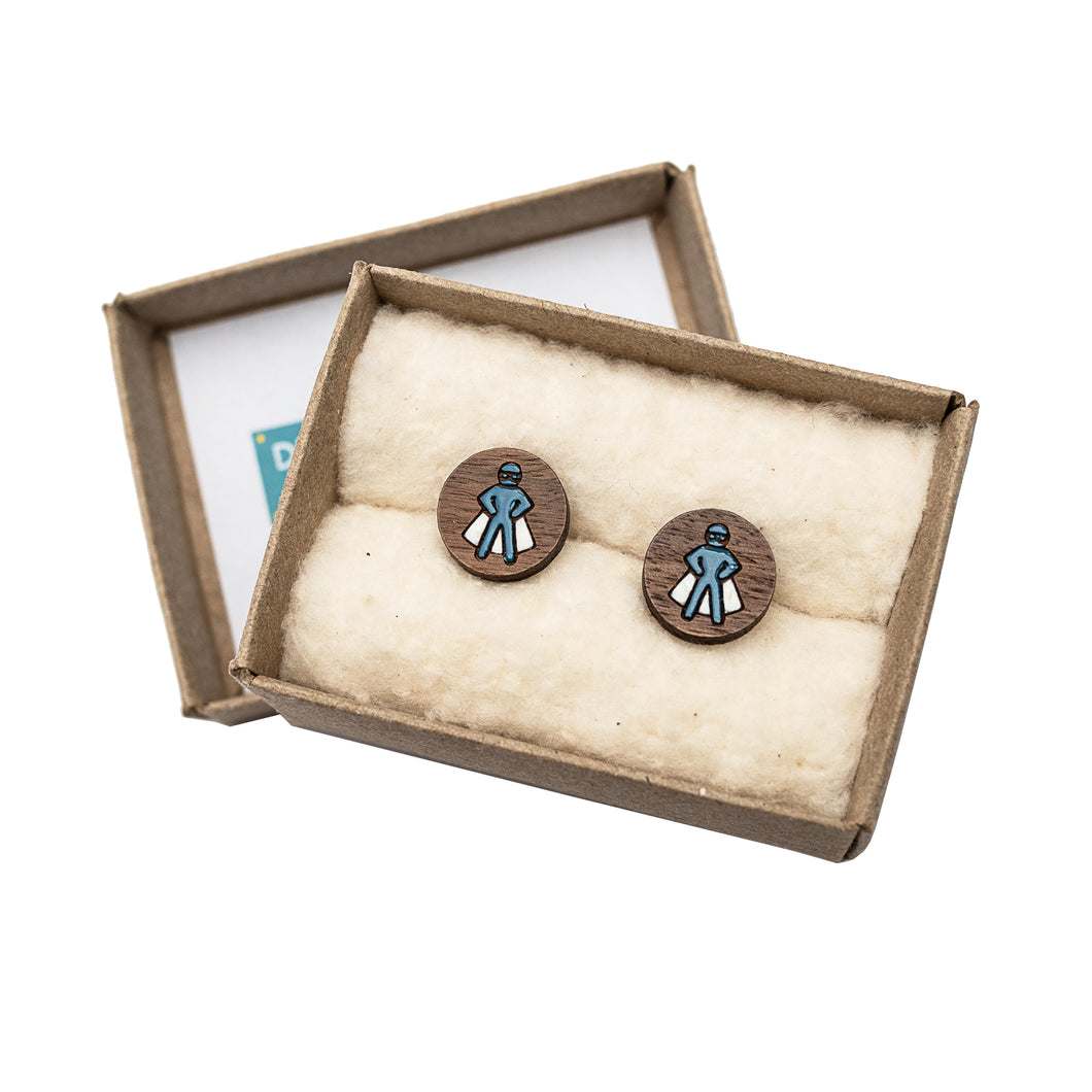 Dressed for Sunday Cufflinks Superhero Blue Handpainted Vintage Inspired Canberra Handmade for the Dapper Gent