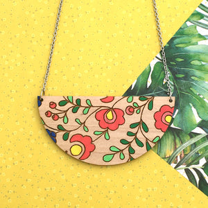 Dressed for Sunday Mexi Folk Half Circle Necklace Handmade Wooden Jewellery Vintage Inspired Canberra