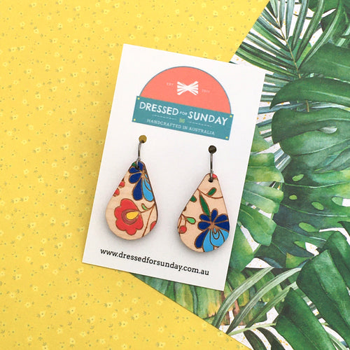 Mexi Folk Teardrop Drop Earrings