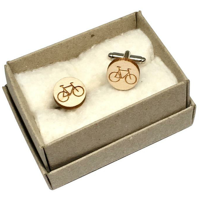 Dressed for Sunday Cufflinks Bicycle Etched Handpainted Vintage Inspired Canberra Handmade for the Dapper Gent