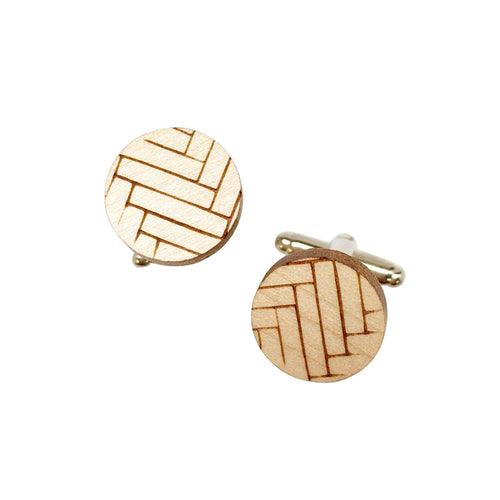 Dressed for Sunday Cufflinks Chevron Etched Handpainted Vintage Inspired Canberra Handmade for the Dapper Gent