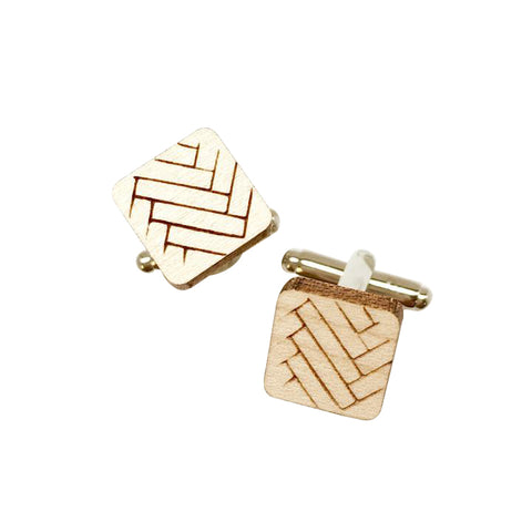 Dressed for Sunday Cufflinks Square Chevron Etched Handpainted Vintage Inspired Canberra Handmade for the Dapper Gent