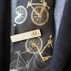 Dressed for Sunday Etched Bicycle Tie Bar in Maple Handmade Suit Accessories Vintage Dapper Wedding Style
