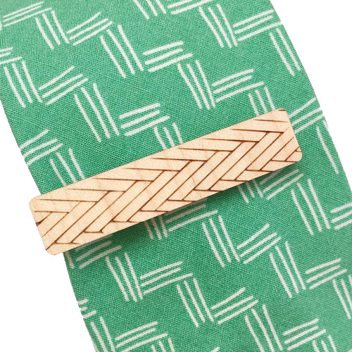 Dressed for Sunday Tie Bar in Chevron Maple Vintage Inspired Canberra Handmade for the Dapper Gent