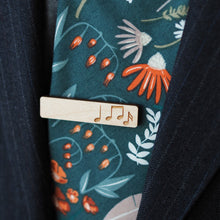 Load image into Gallery viewer, Etched Music Notes Tie Bar in Maple - Dressed for Sunday