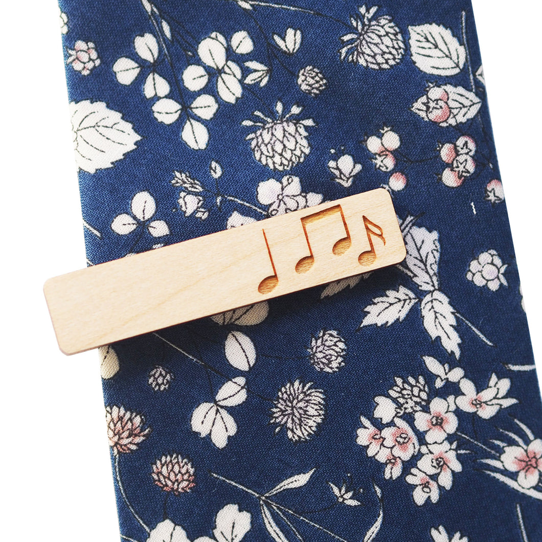 Etched Music Notes Tie Bar in Maple - Dressed for Sunday