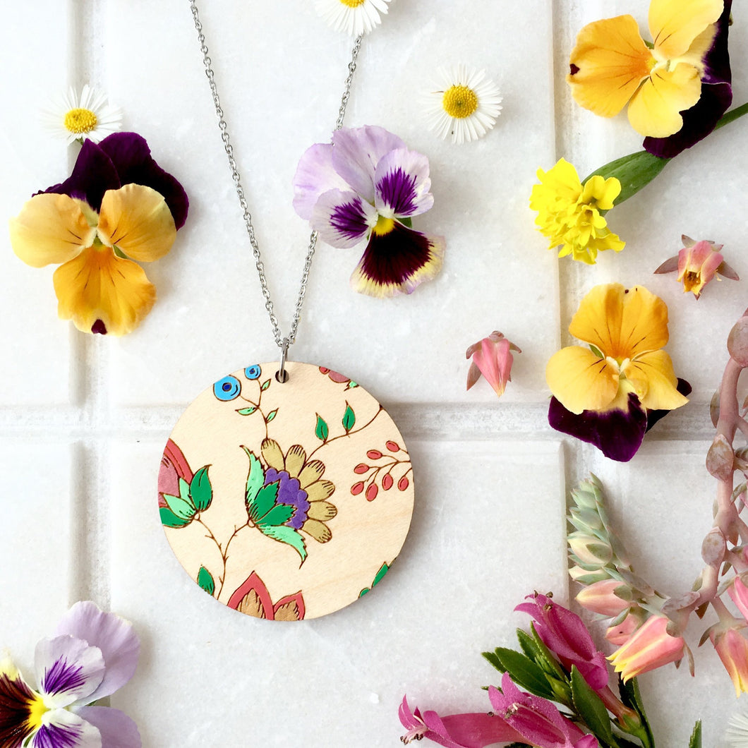 Round French Wallpaper Necklace