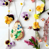 Teardrop French Wallpaper Necklace