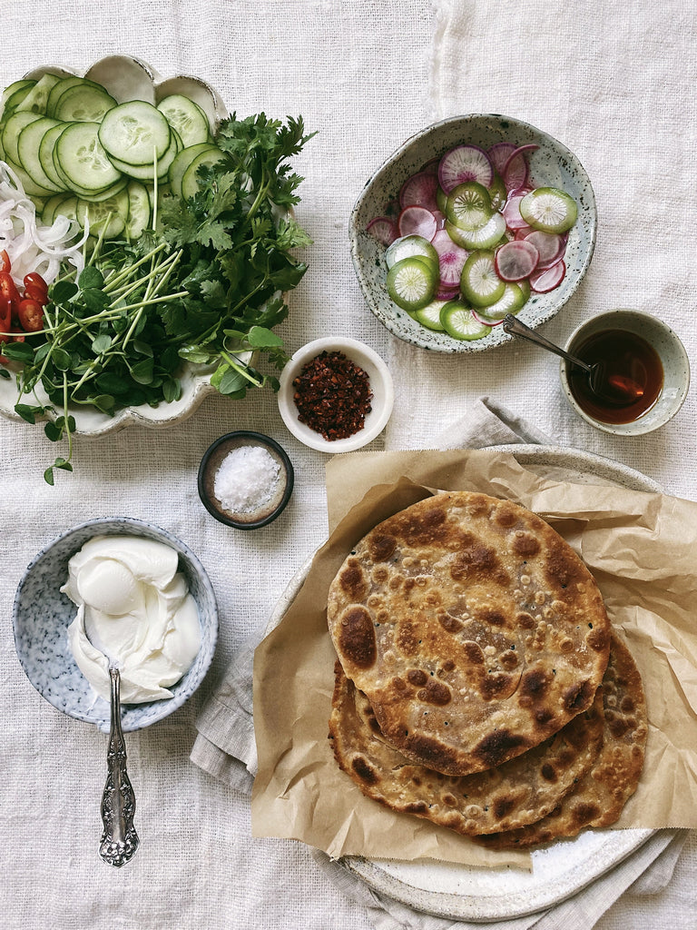 ARDOR Parathas with Quick Pickled Radishes, Crunchy Salad, and Labneh