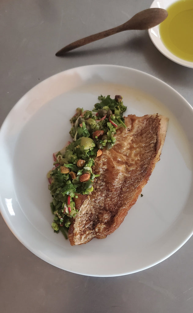 Crispy Seared Fish With Mediterranean Herb Dressing