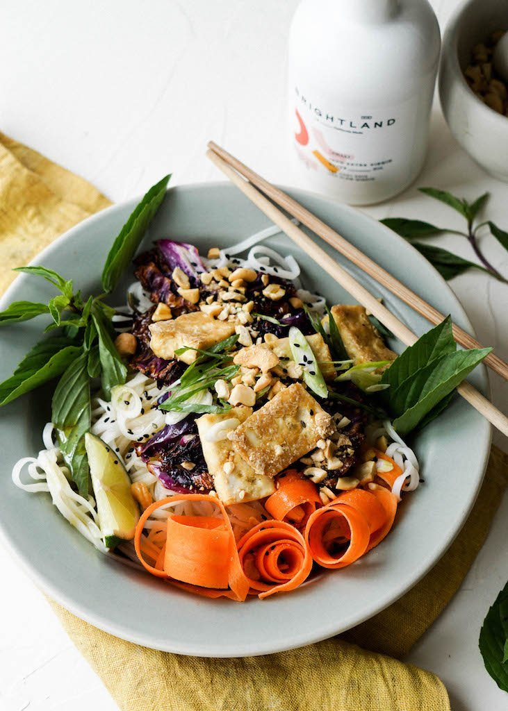Brightland Creations: Crispy Tofu and Cabbage Noodle Bowls