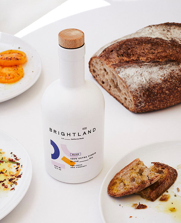 brightland olive oil with breads