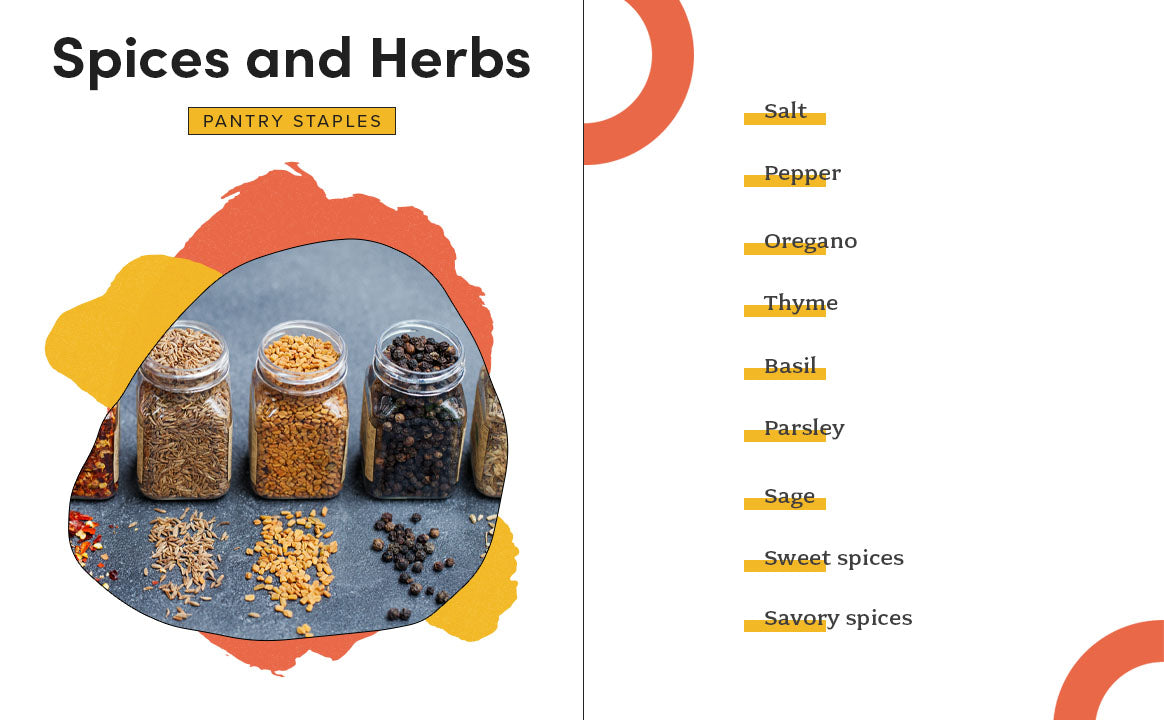 spices and herbs pantry staples