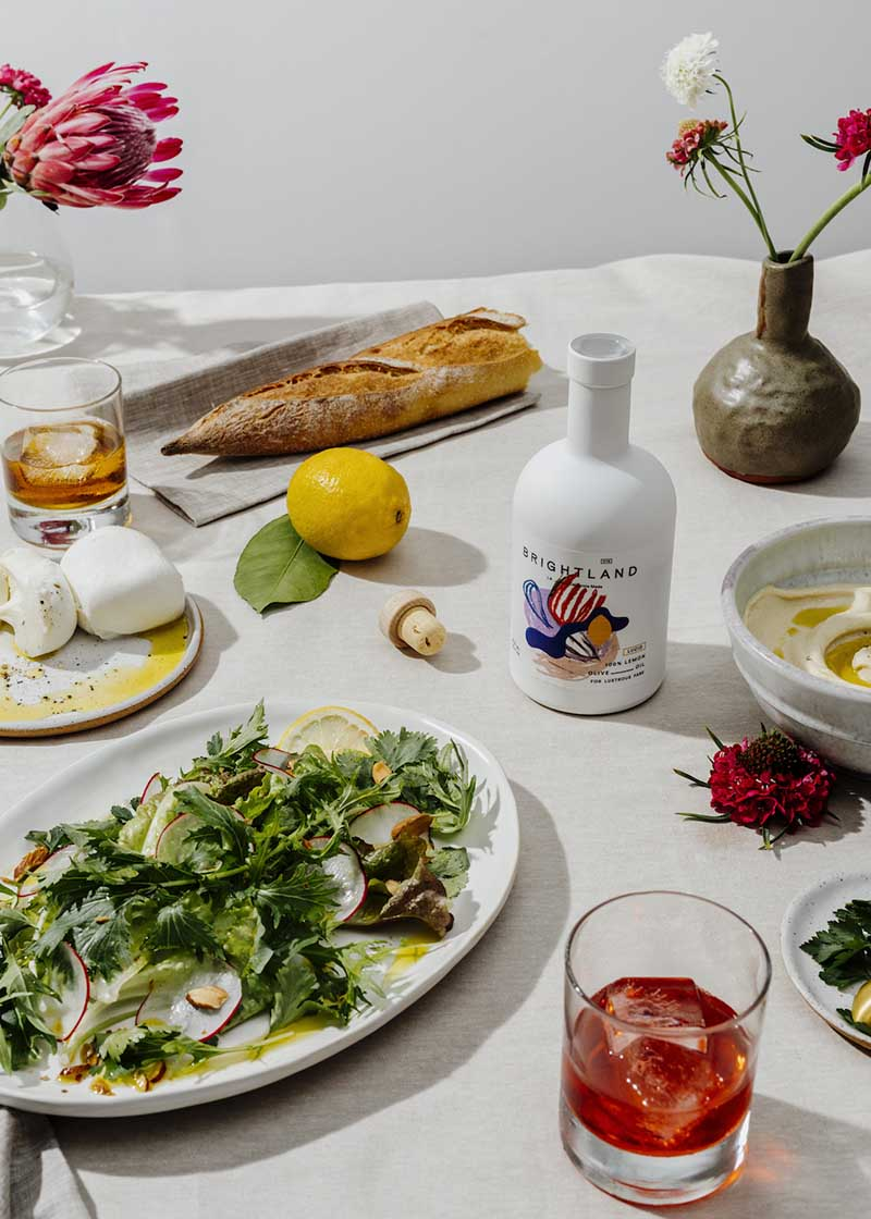 table setting with variety of foods