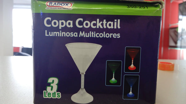 COPA LUMINOSA MULTICOLORES 3 LEDS