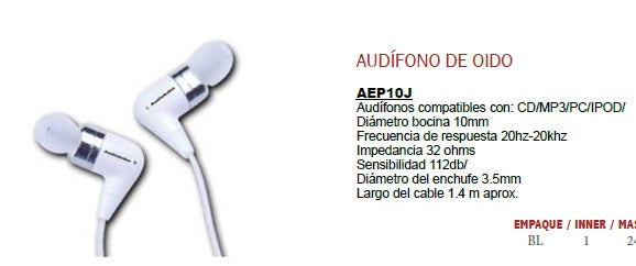 AUDIFONOS CD/MP3/PC/IPOD AUDIOBAHN AEP10