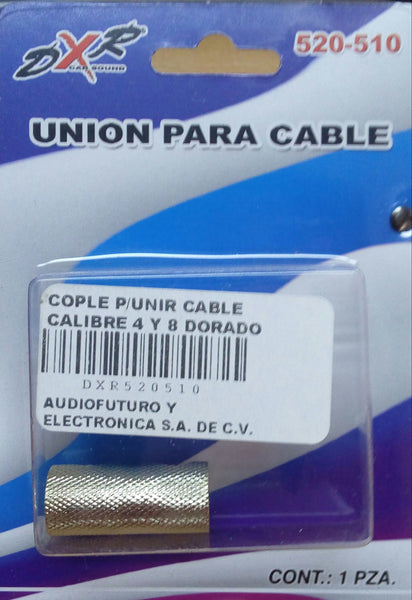 COPLE P/UNIR CABLE CALIBRE 4 Y 8 DORADO METALICO