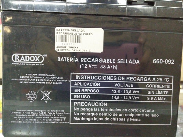 BATERIA SELLADA RECARGABLE 12 VOLTS  33 AH