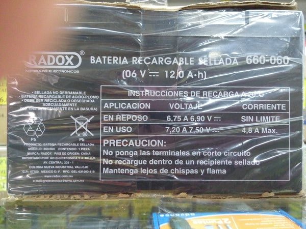BATERIA RECARGABLE SELLADAS 6 VOLTS 12 AMPERES