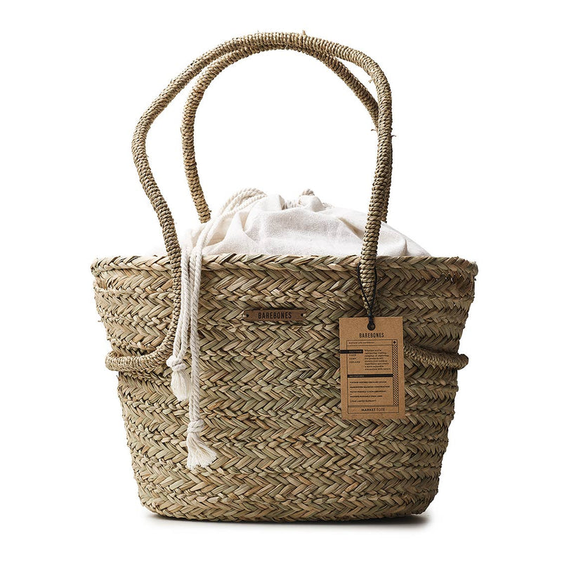 Barebones Living - Seagrass Market Tote with Linen Liner