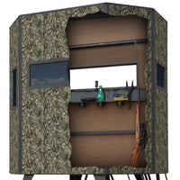 5' X 7' WRANGLER CAMO HUNTING BLIND WITH COMBO WINDOWS & 4' TOWER