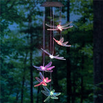 Solar Mobile LED Light Color Changing Wind Chimes Dragonfly Pendant Aeolian Bell Yard Garden Wind Chimes Lamp Accessories Home Decor