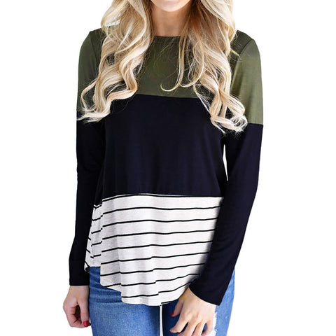 Women Casual Stripe Color Block Long Sleeve O Neck Tops Blouse