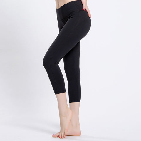 Women Black Gym Pants High-Waist Yoga Fitness Leggings Cropped Trousers