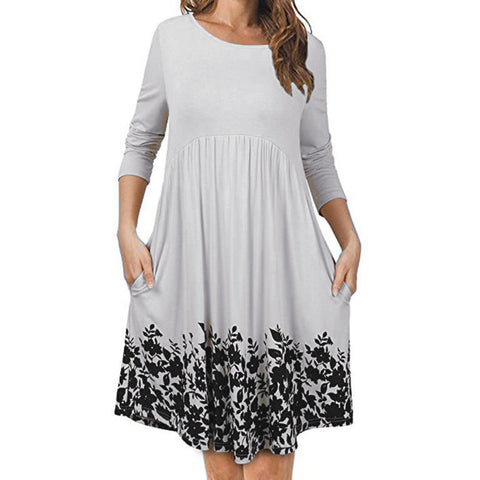 Women's T Shirt Dress With Pockets Long Sleeve Floral Pleated Swing Dress