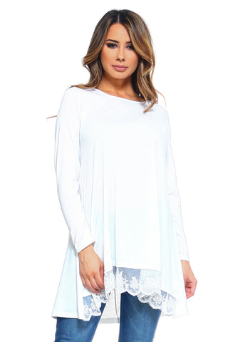 Women's Lace Patchwork Long Sleeve Tunic