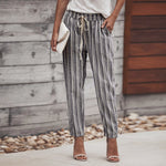 Women Striped Printed Drawstring Elastic Long Pants Stripped Pencil Trousers