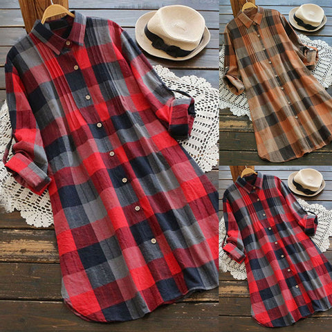 Women Retro Plaid Long Sleeve Casual Button Long Dress Mini Shirt Dress