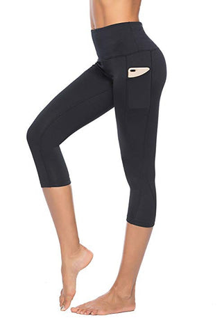 Yoga Capris High Waist Cropped Leggings For Women Workout with Pocket
