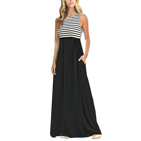 Sexy Womens Stripe Sleeveless O Neck Pocket Casual Beach Long Maxi Dress