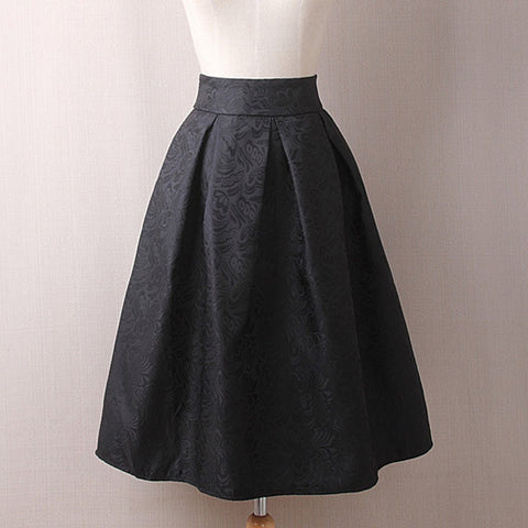 Womens Vintage Printing Dress Knee Length High Waist Pleated Dress Party Dress