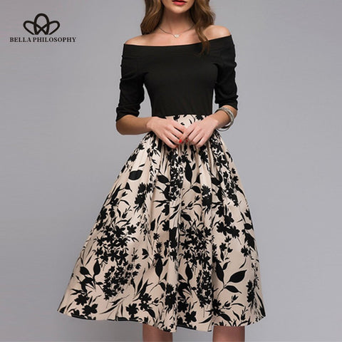 Spring A-Line Slash Neck Draped  Floral Print Patch Sexy Women Dress