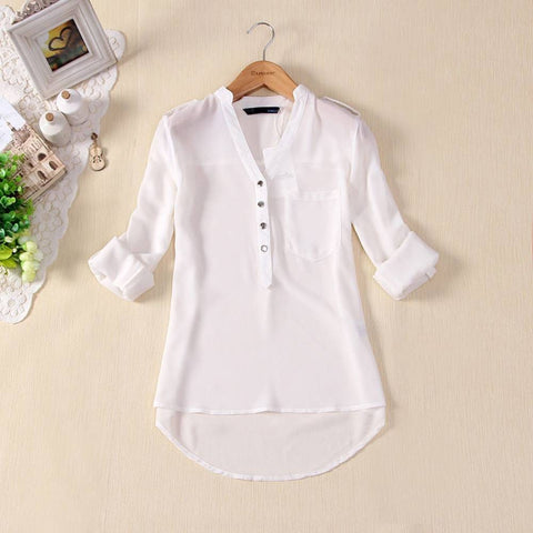 Women Button V-neck Basic Tops Shirt Long Sleeve Casual Blouse Loose T-shirt