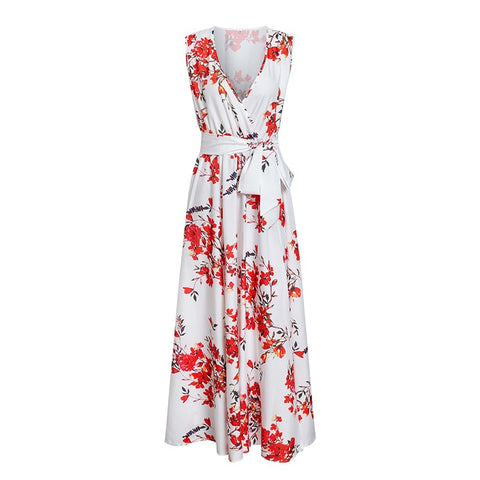 Simplee Bohemian floral print women dress Elegant V neck sleeveless long dress Elastic high waist split sash summer sundress 5 orders