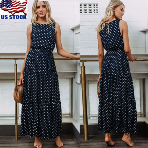 Womens Summer Sleeveless Long Midi Dress Casual Black Polka Dot Party Dresses